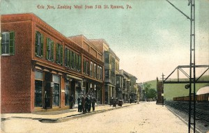 original postcard, 5th & Erie Ave, Renovo, PA 1908
